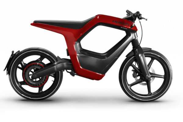 Uma moto elétrica de fibra de carbono inspirada em bicicleta